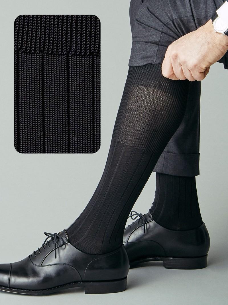 9x2 Geribde Kniehoge Sokken L
