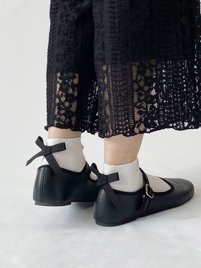 Madeline Bow 1x1 Rib Ankle Socks