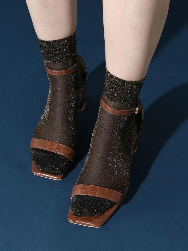 Sheer Lamé Ankle Socks
