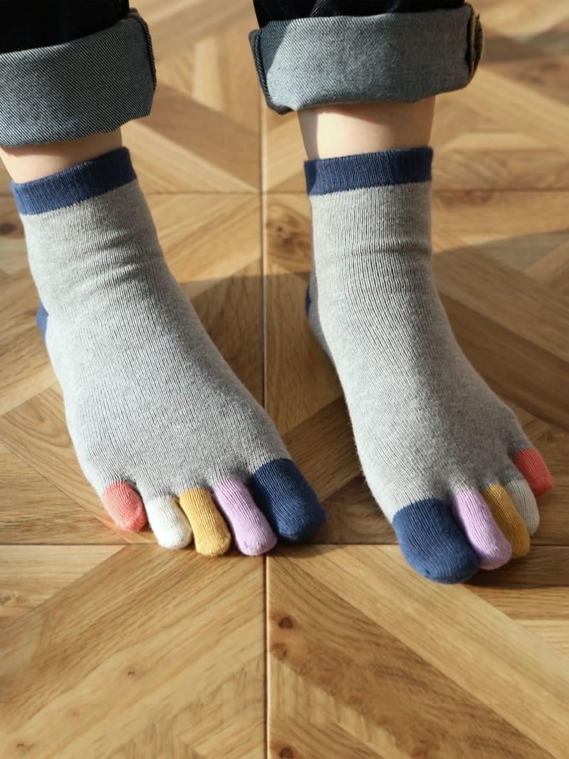 Rainbow 5 Fingers Toe Ankle Socks