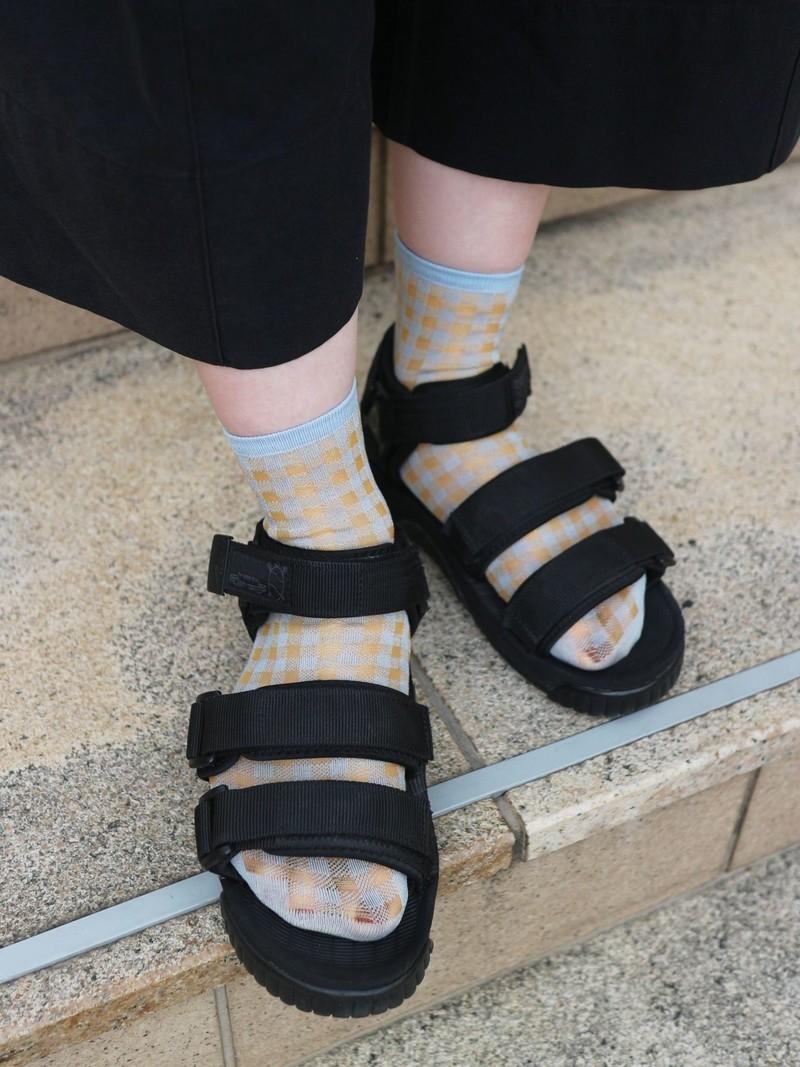 Sheer Gingham Check Ankle Socks