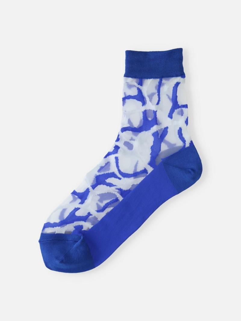 Sheer Aqua Pattern Niedrige Crew Socken