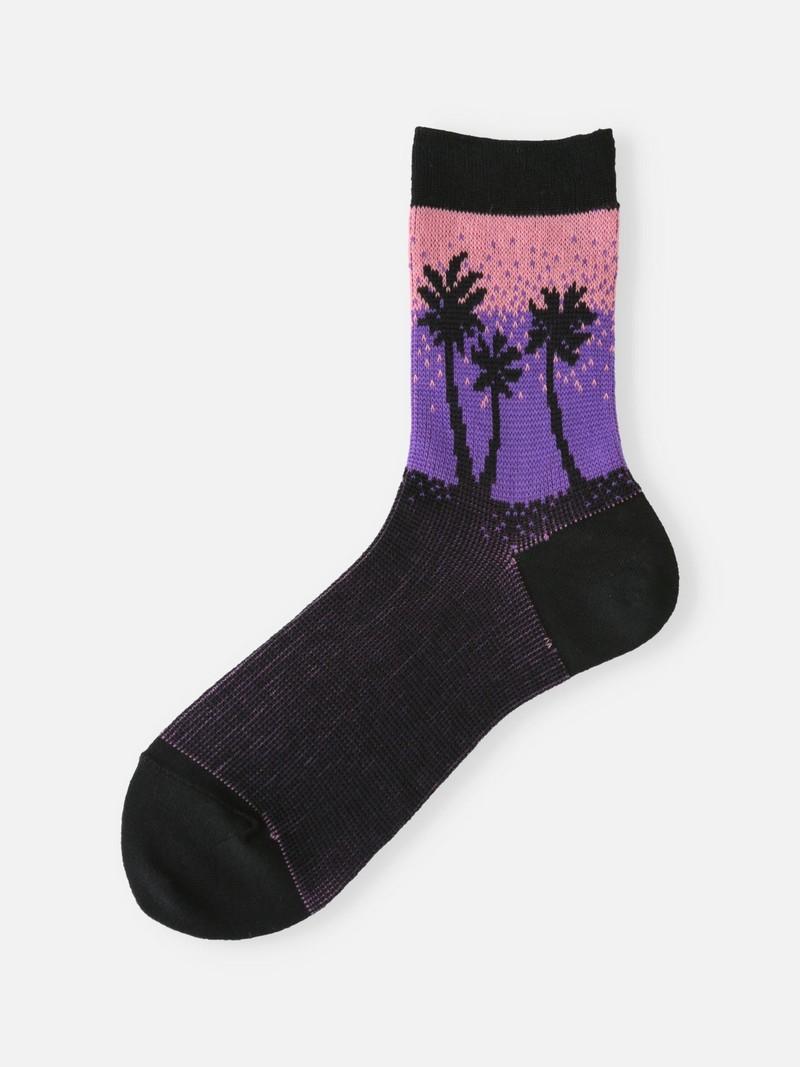 Palm Tree Gradation Low Crew Socks