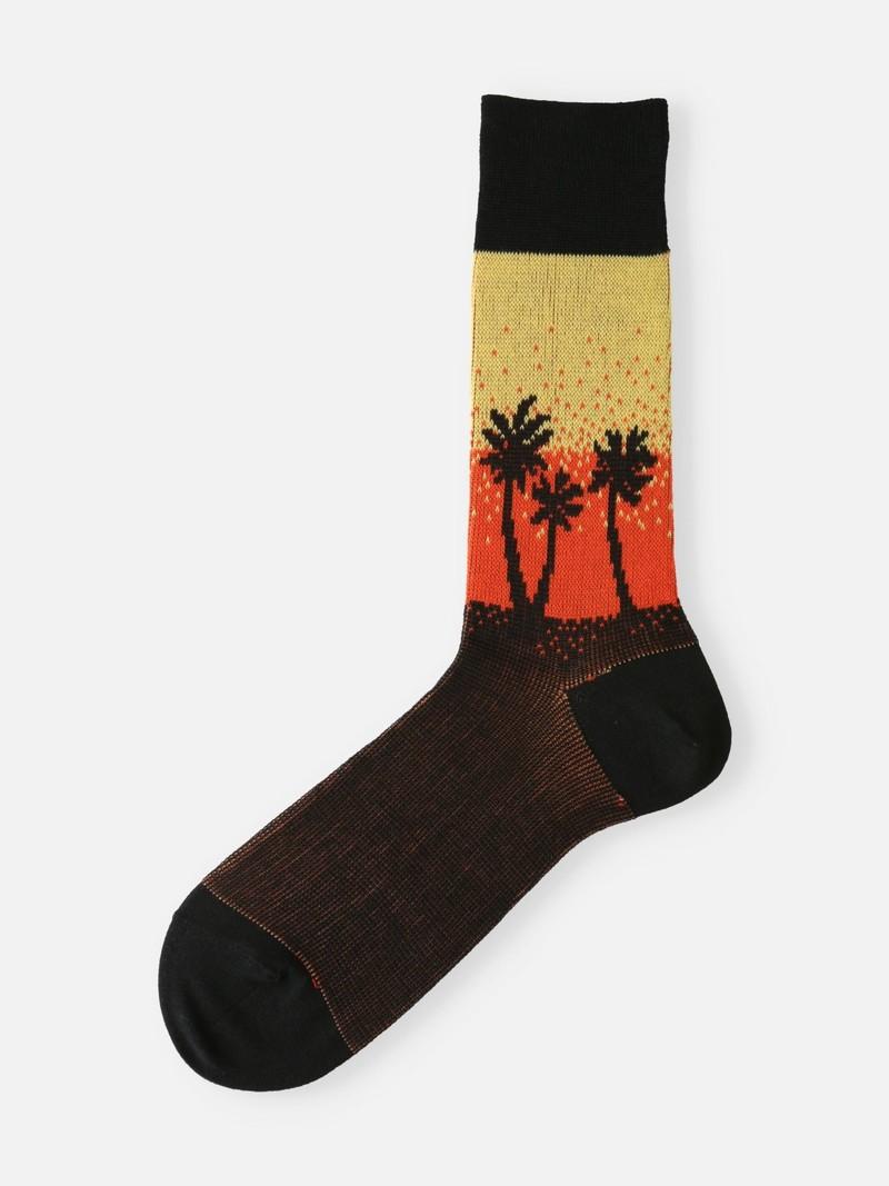 Palm Tree Gradation High-Cut Socks Men's