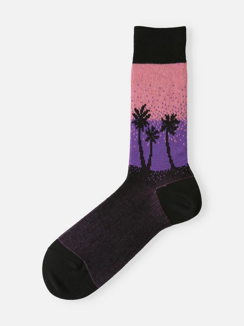 Mi-chaussette 3/4 palmier fond dégradé homme