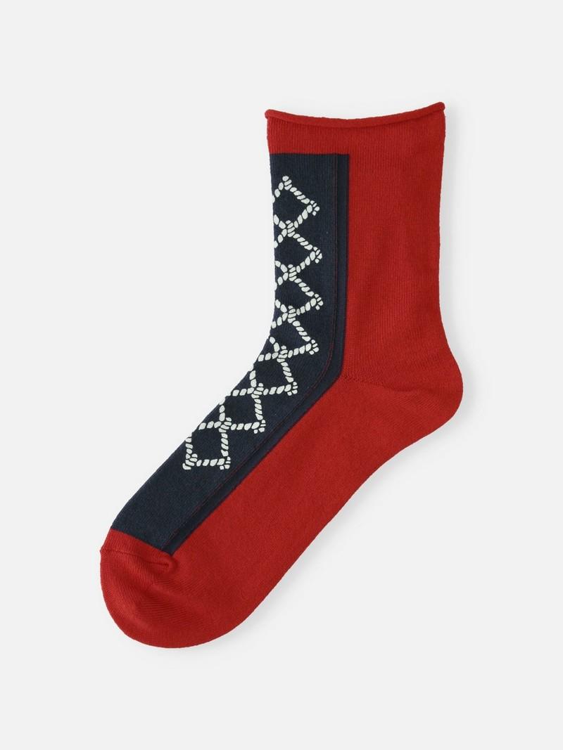 Front Rope Printed Low Crew Socks