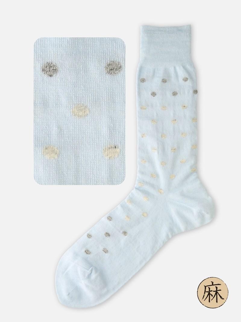 Linen Dot Mid-Calf Socks M