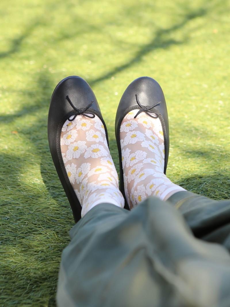 Sheer Botanical Low Crew Socken