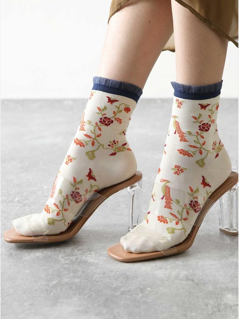 Chinoiserie lage crew sokken