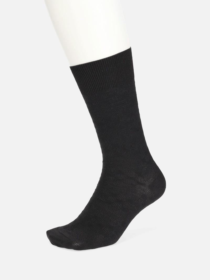 Washi Damier Pattern Mid-Calf Socks 200N M