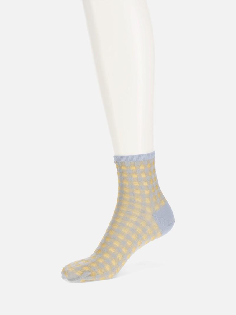 Socquette mi-transparente carreaux Vichy