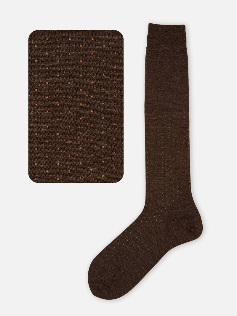 Merino Wool Pindot Knee High Socks M