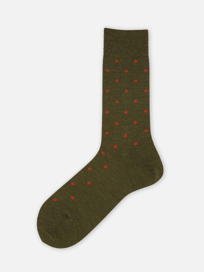 Mittlere Socke aus kontrastierter Tupfenwolle L