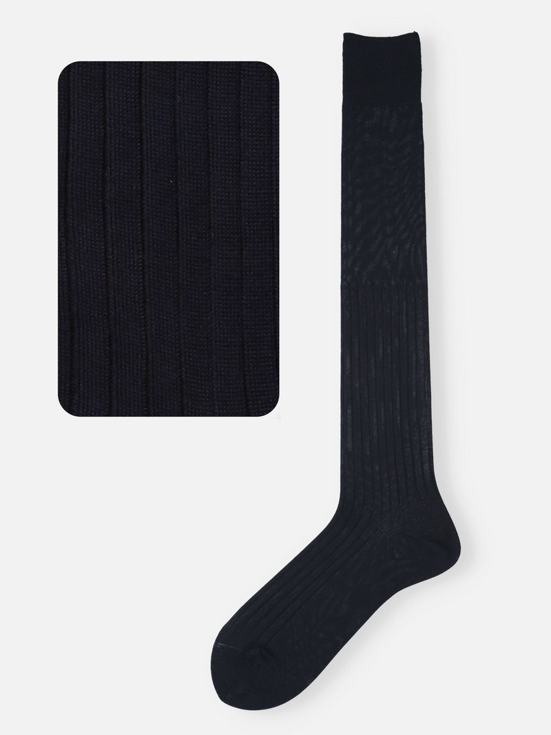 100% Cotton Ribbed Knee High Socks M