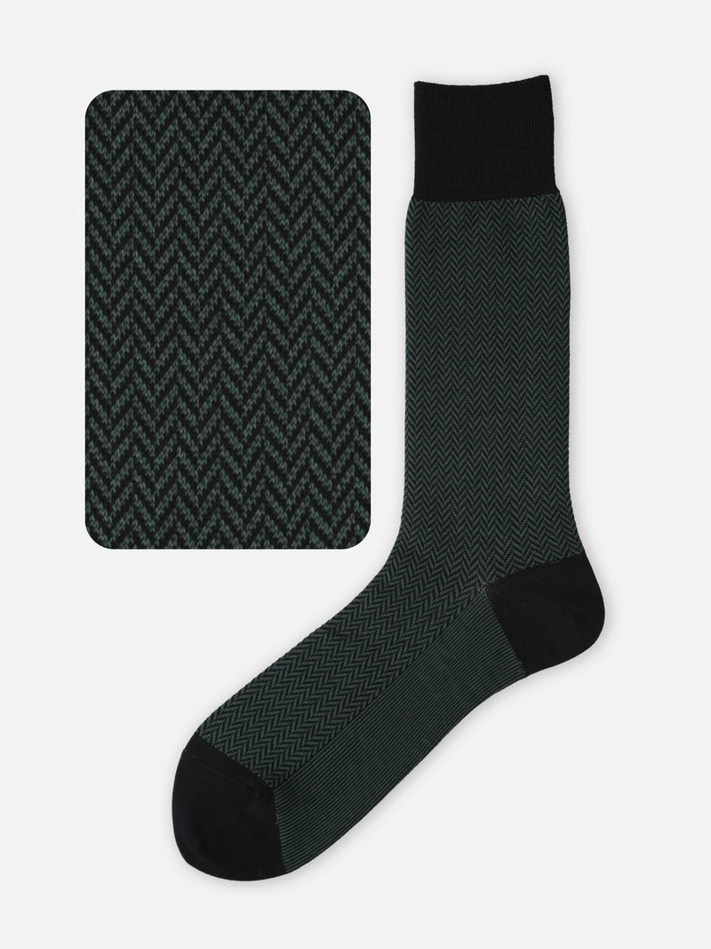 Jacquard Herringbone Mid Calf Socks 220 M