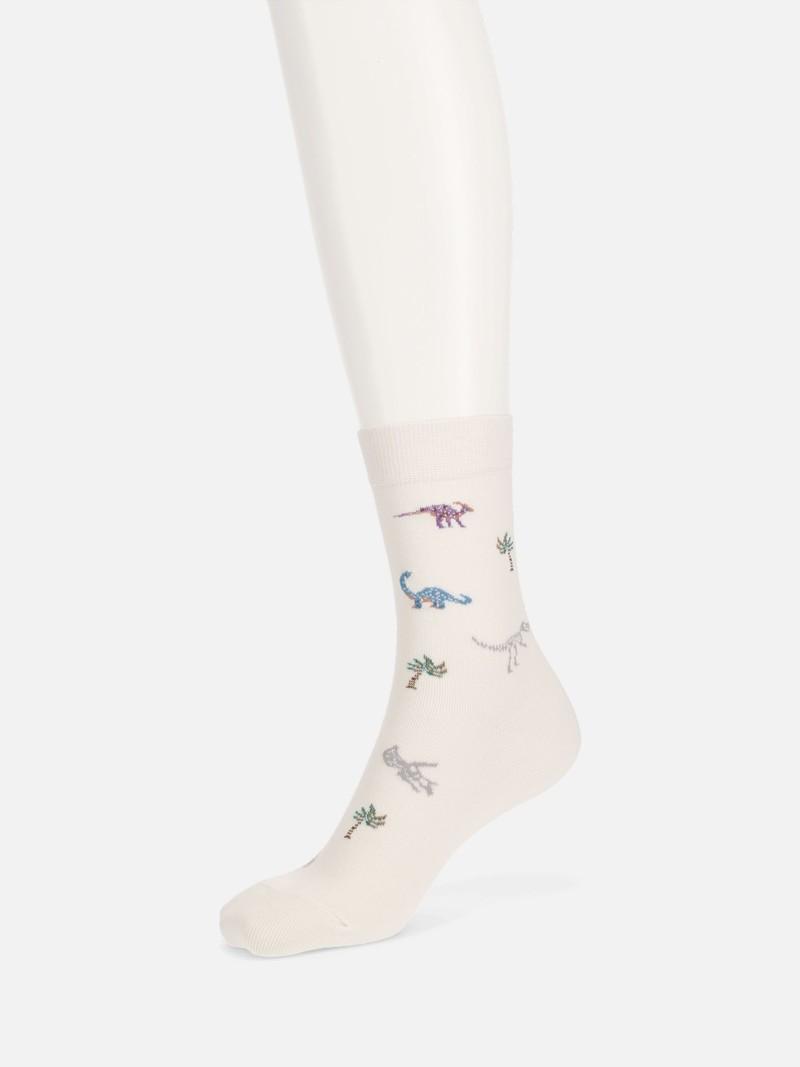 Dinosaur Pattern Low Crew Socks