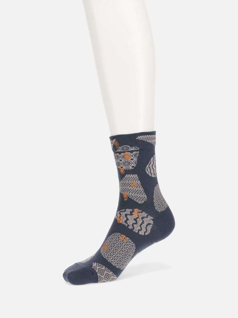 Crew-Socken mit Erdtonmuster