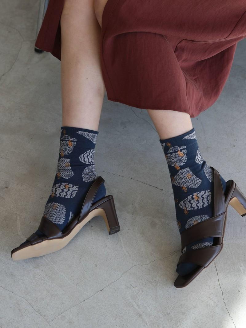 Mi-chaussette motif tons terreux