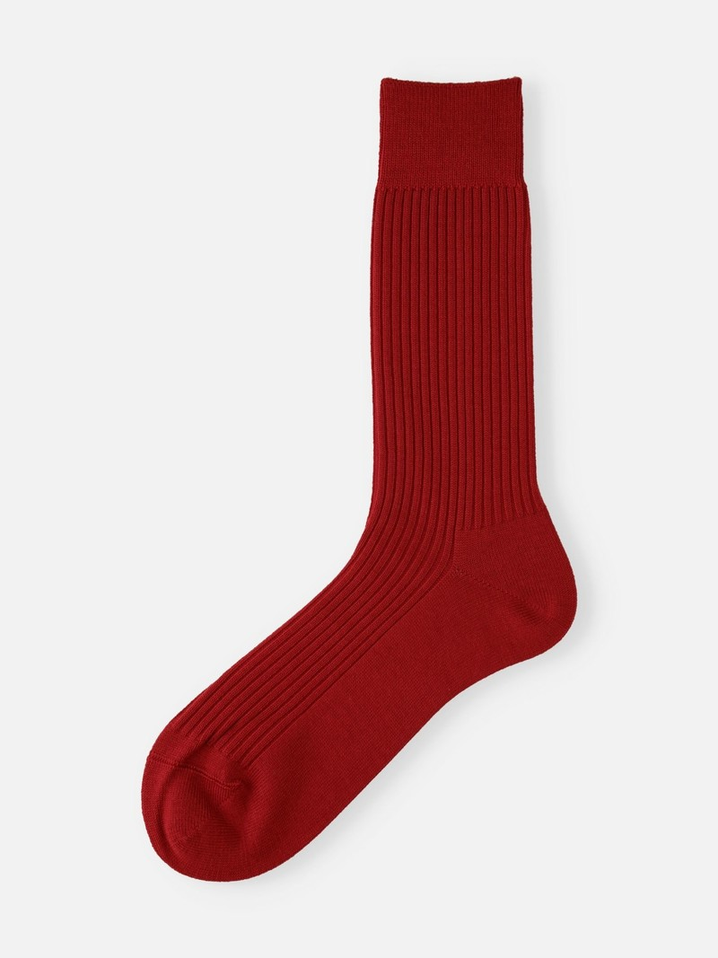 2x2 Ribbed Crew Socks M