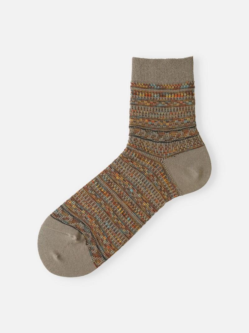 Kasuri Jacquard Short Socks M