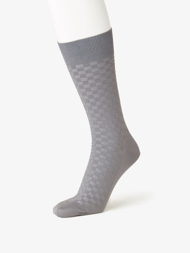 Damier Pattern Mid Calf Socks 220N L