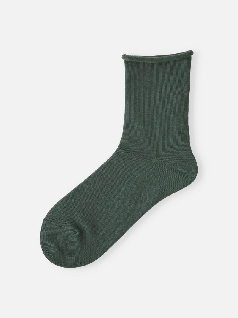 Mi-chaussette bord roulé unie