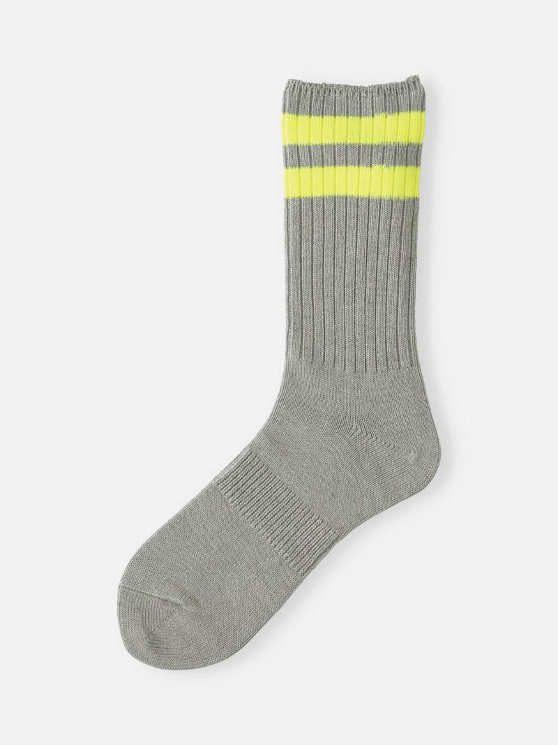 Neon Double Line Ribbed Crew Socks