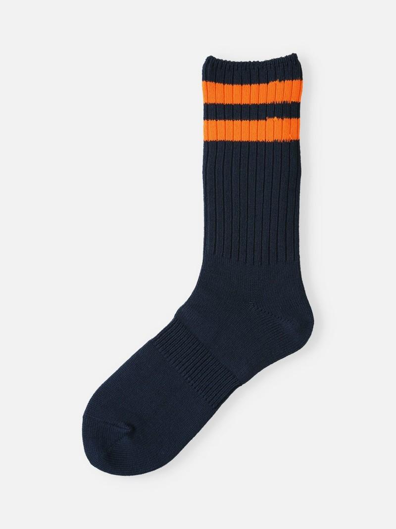 Neon gerippte Crew-Socken mit doppelter Linie