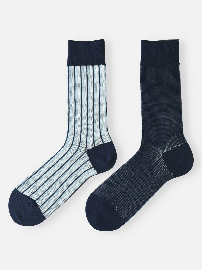 Halfhoge sokken met jacquardpanelen en strepen M