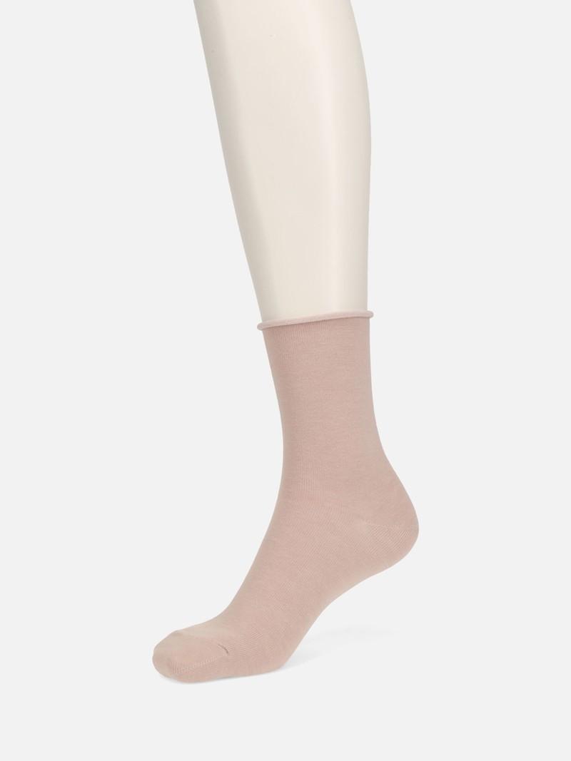 Roll Top Plain Low Crew Socks