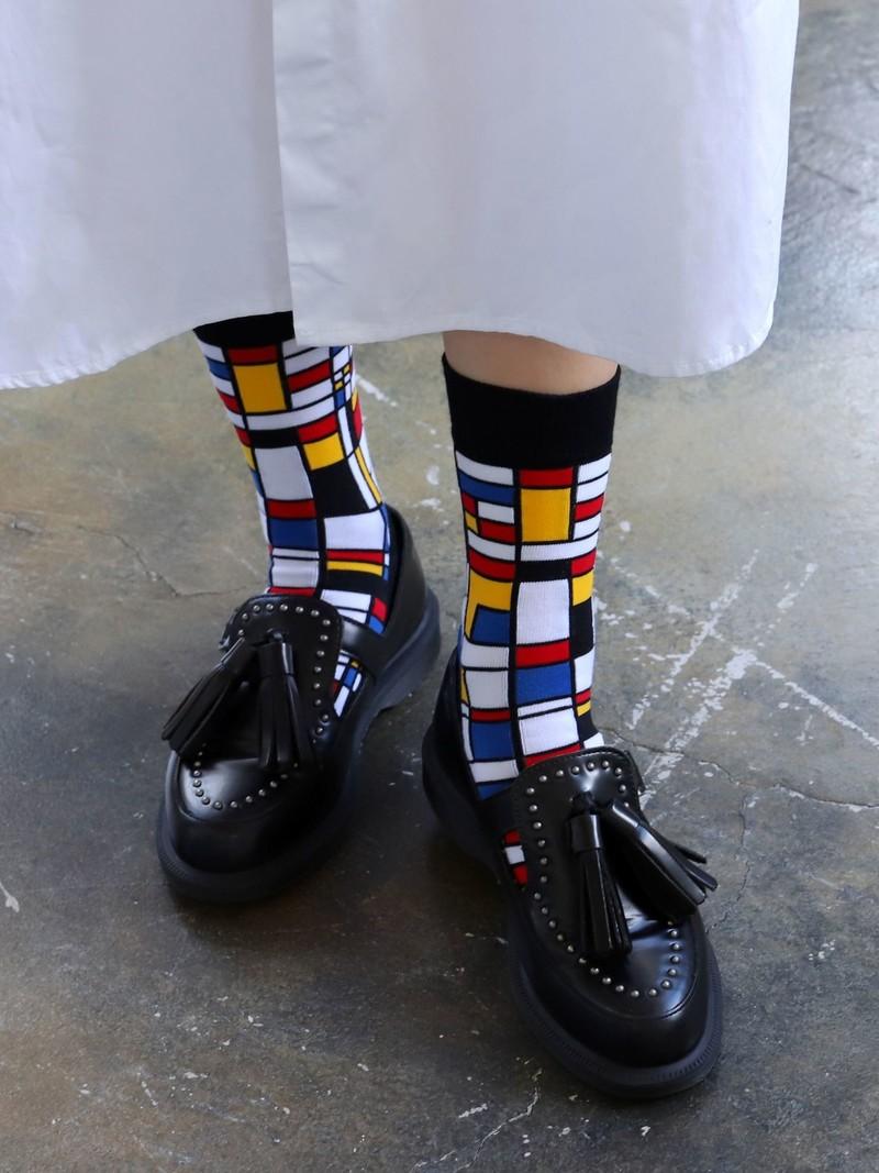 Crew-Socken mit Mondrian-Muster