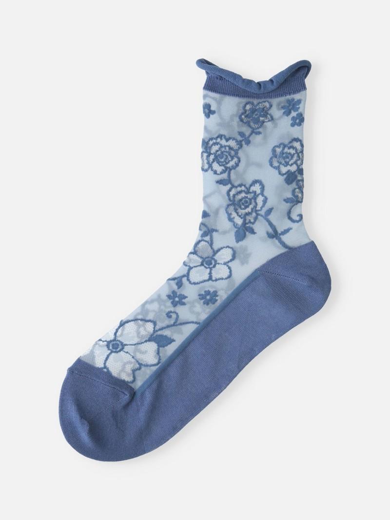 Tulle Big Flower Low Crew Socks