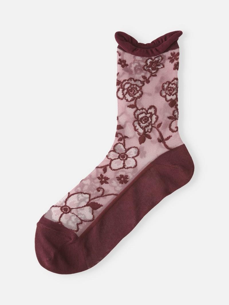 Socquette en tulle motif grands fleurs
