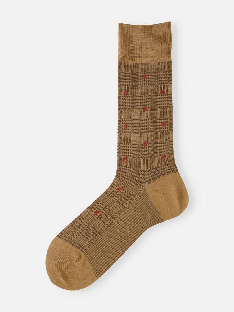 Glen Plaid Houndstooth Mid-Calf Socks M