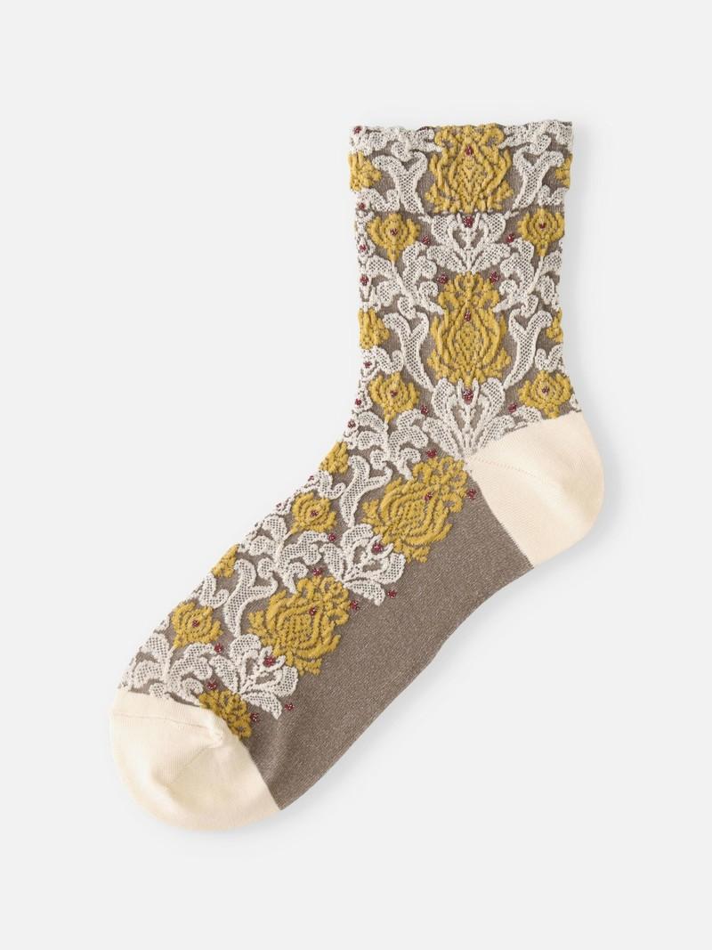 Oriental Flower Float Low Crew Socks