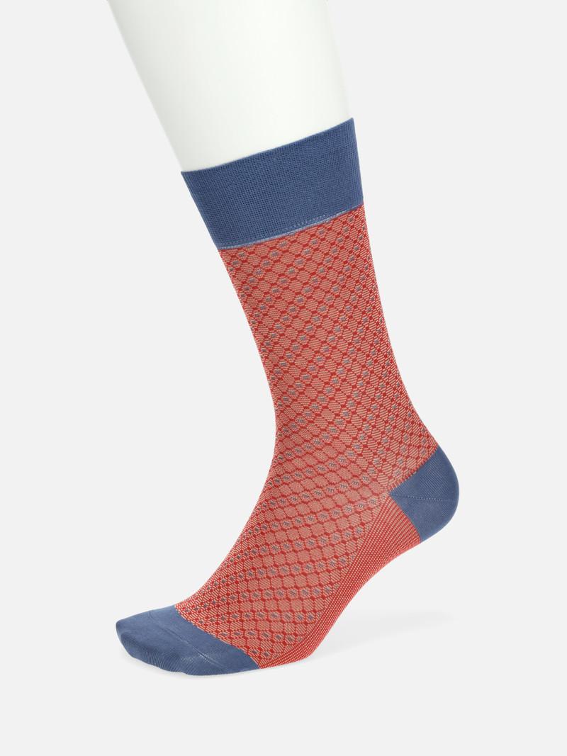 Jacquard Diamond Rhombus Crew Socks M