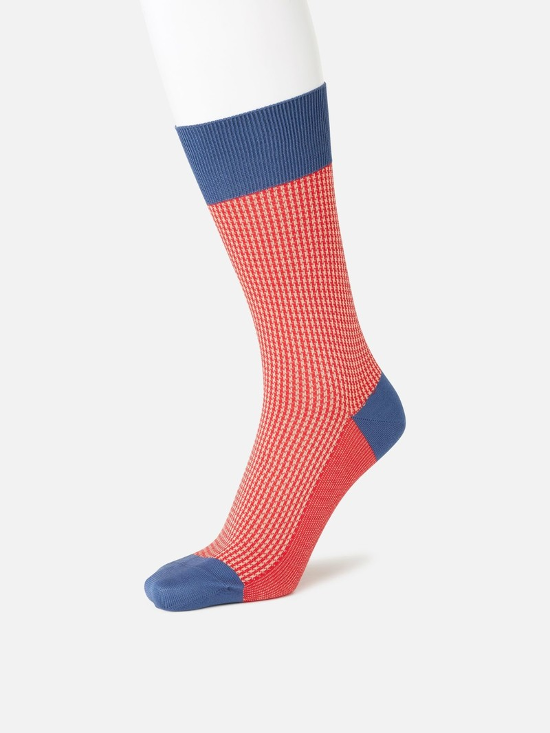 Jacquard Houndtooth Crew Socks M