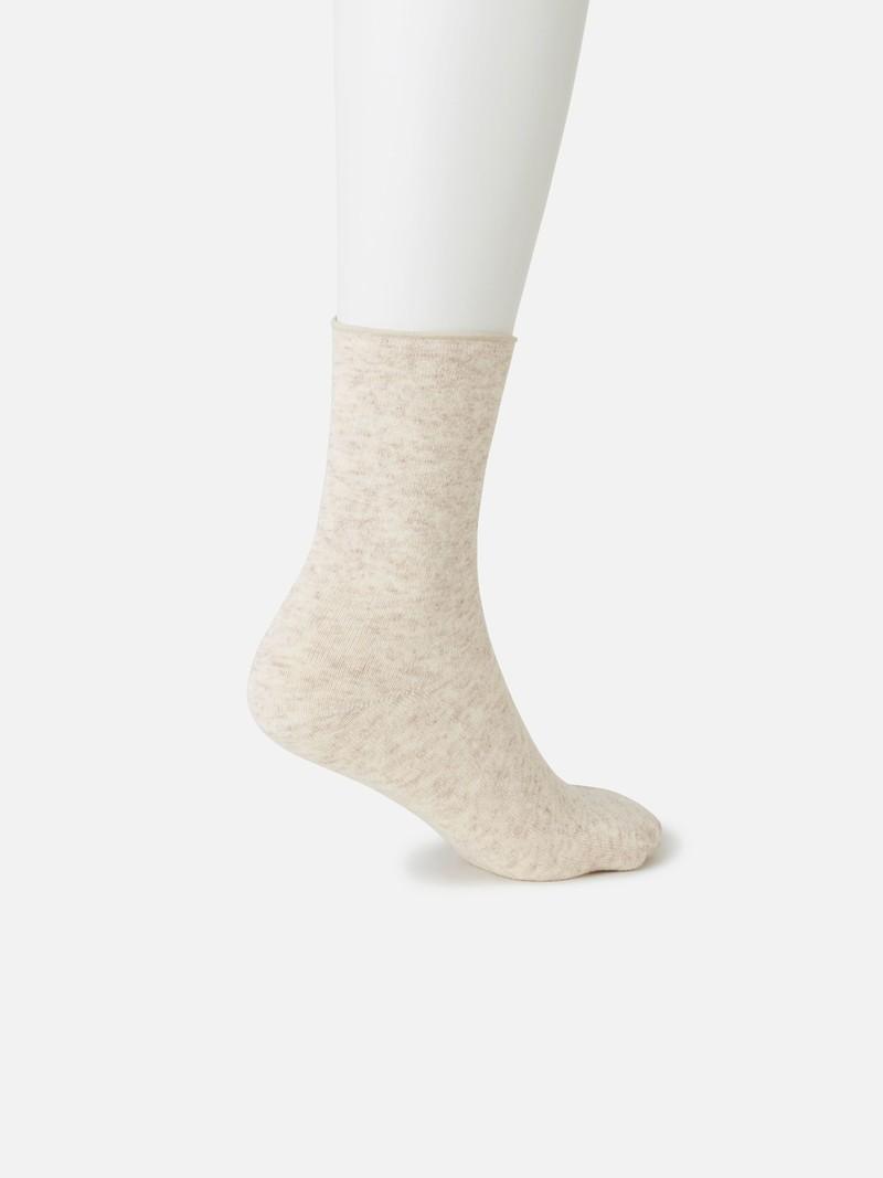Lambswool Roll Top Plain Low Crew Tabi Socks