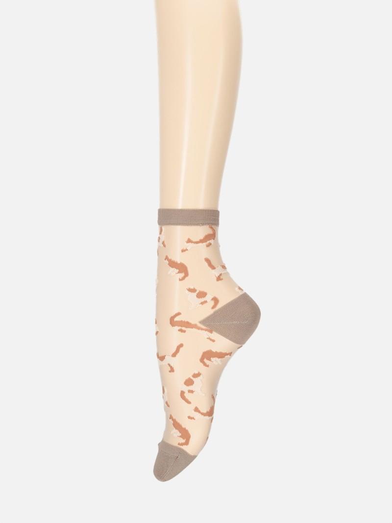 Kattenpatroon doorschijnende lage crew sokken