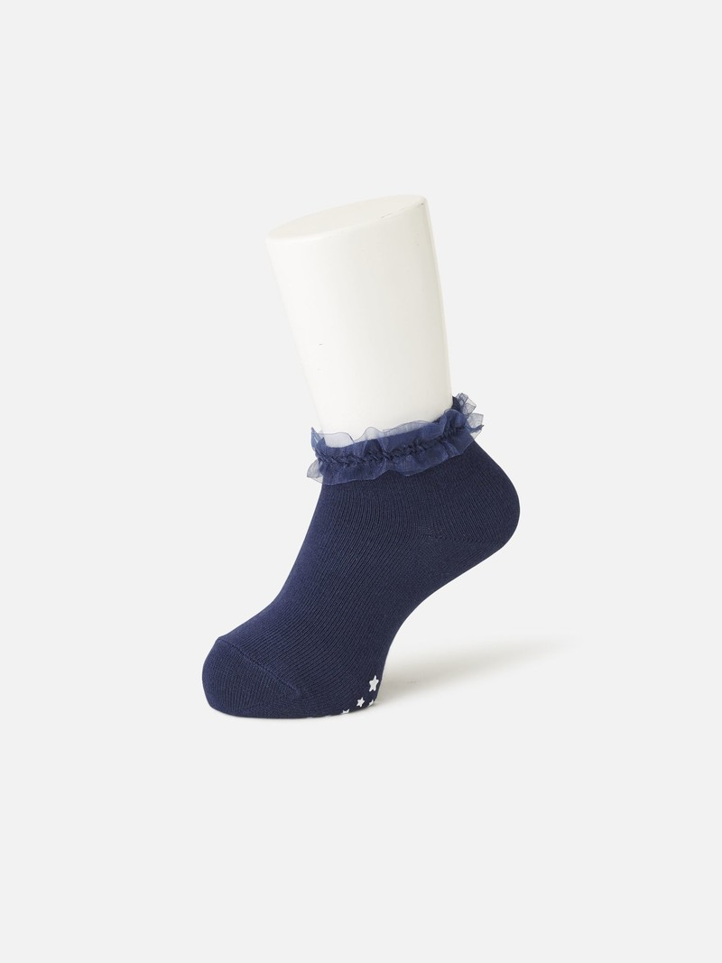 Einfache Socke mit Organza-Bandrand Kind 14-15