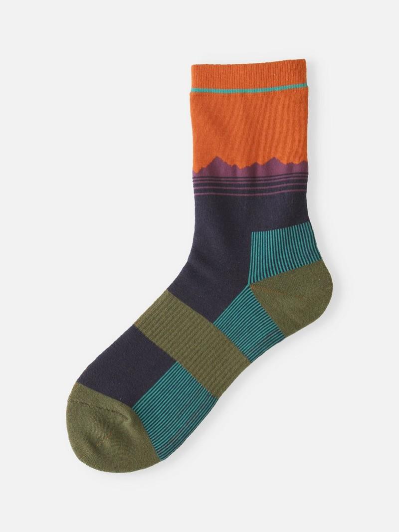 Mountain Silhouette Pile Crew Socken