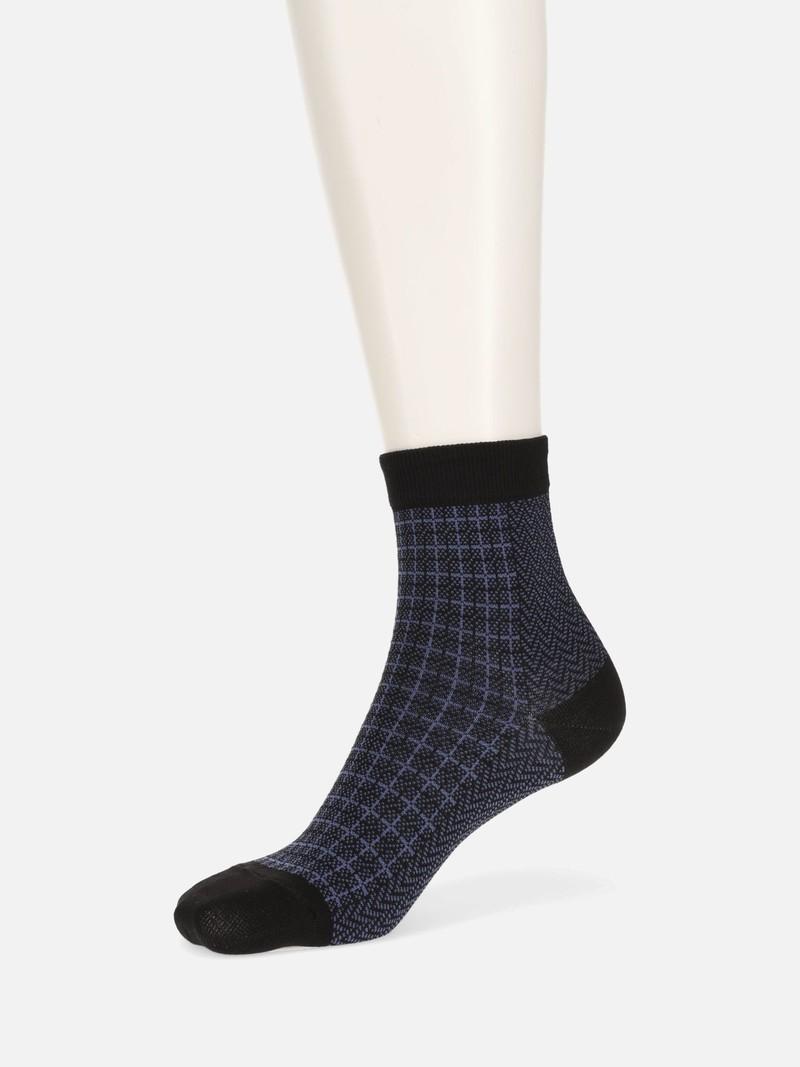 Karierte niedrige Crew-Socken mit Fischgrät-Einsatz