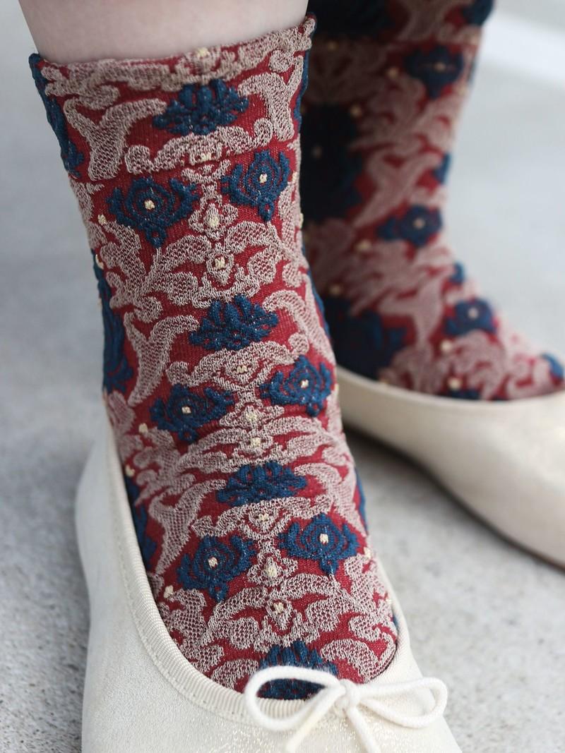 Oriental Flower Float niedrige Crew-Socken