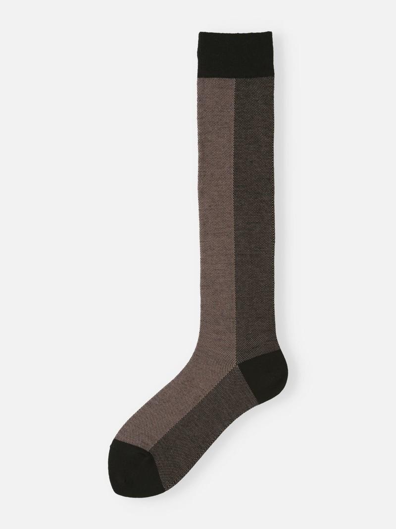 Tweed Bicolore hohe Socken aus Wolle/Baumwolle