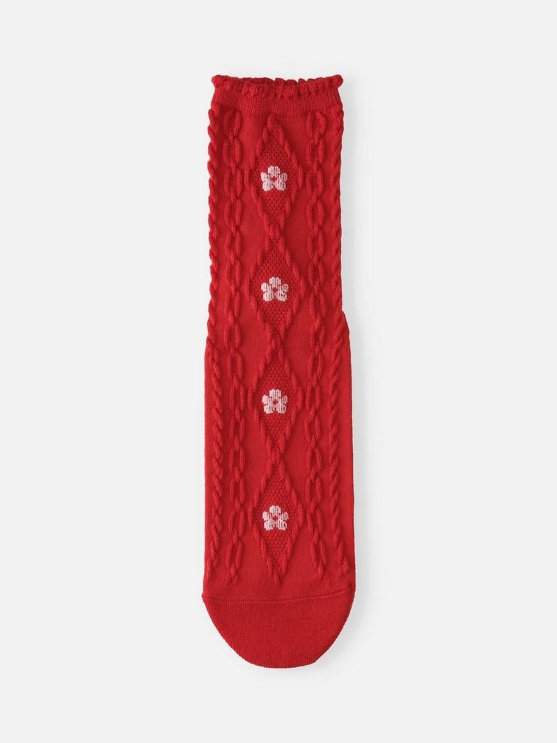 Crew-Socken mit Blumen- und Zopfmuster aus Wolle