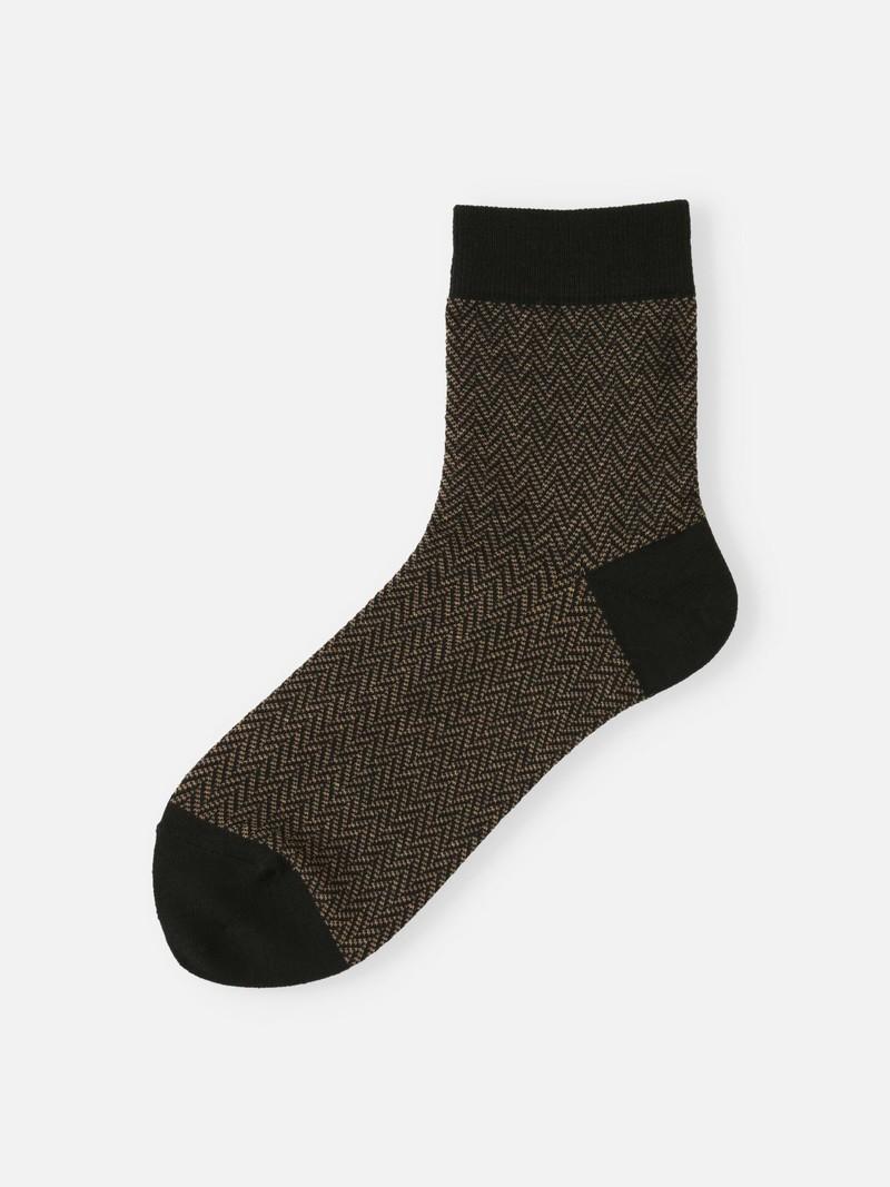 Merino Wool Herringbone Low Crew Socks