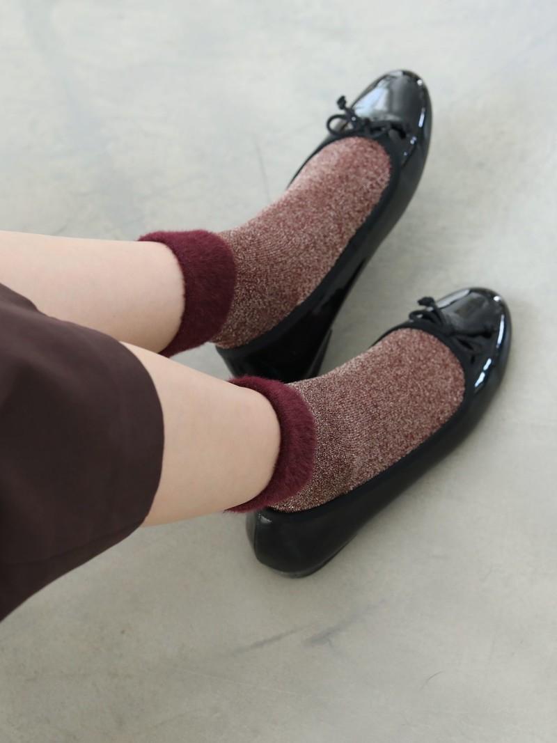Fluffy Top Shiny Low Crew Socks