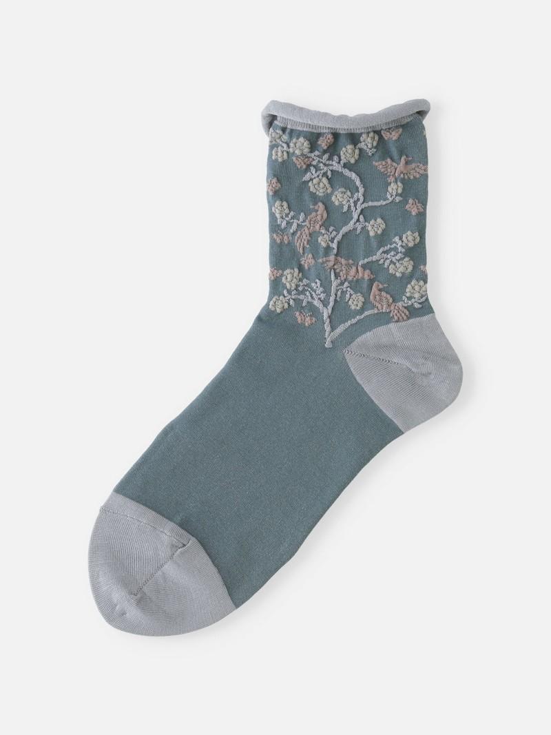 Chinoiserie Bird Low Crew Socks