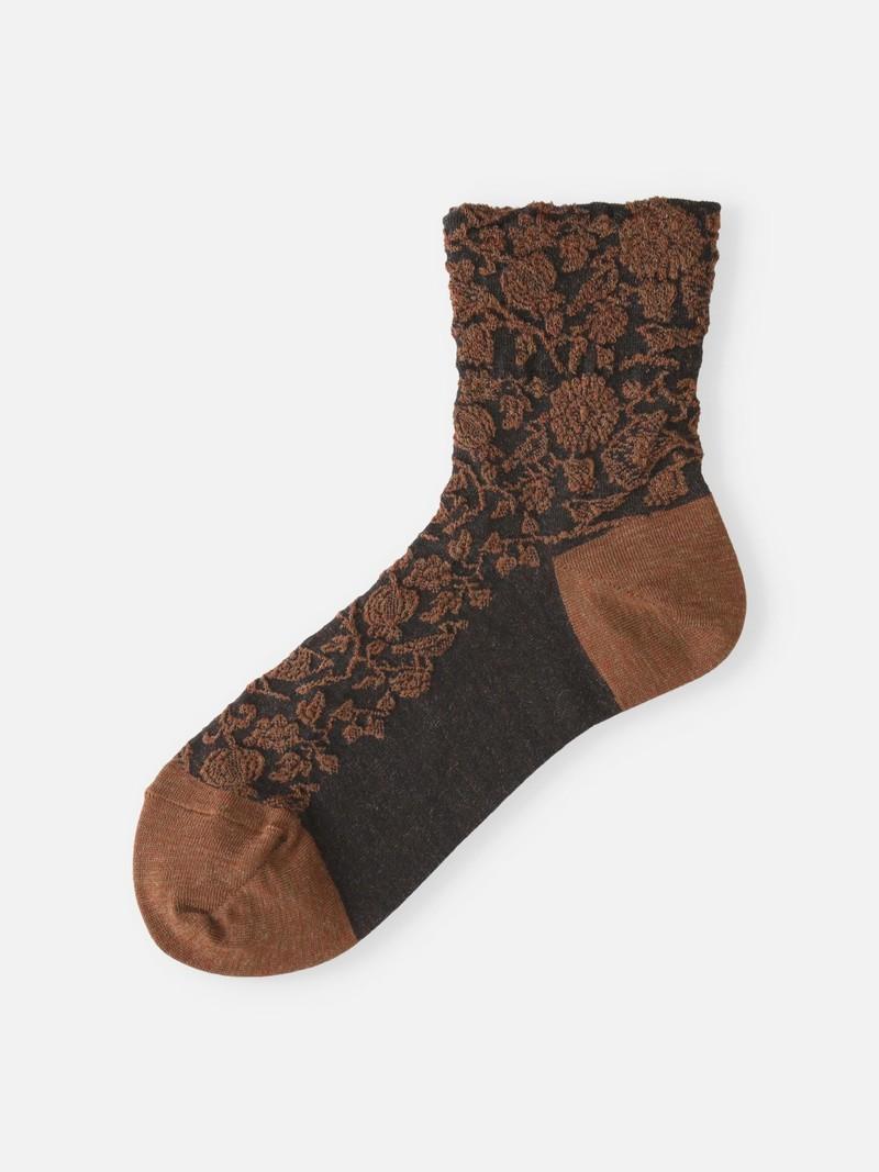 Wool Mixed Float Bird Garden Lc Socks
