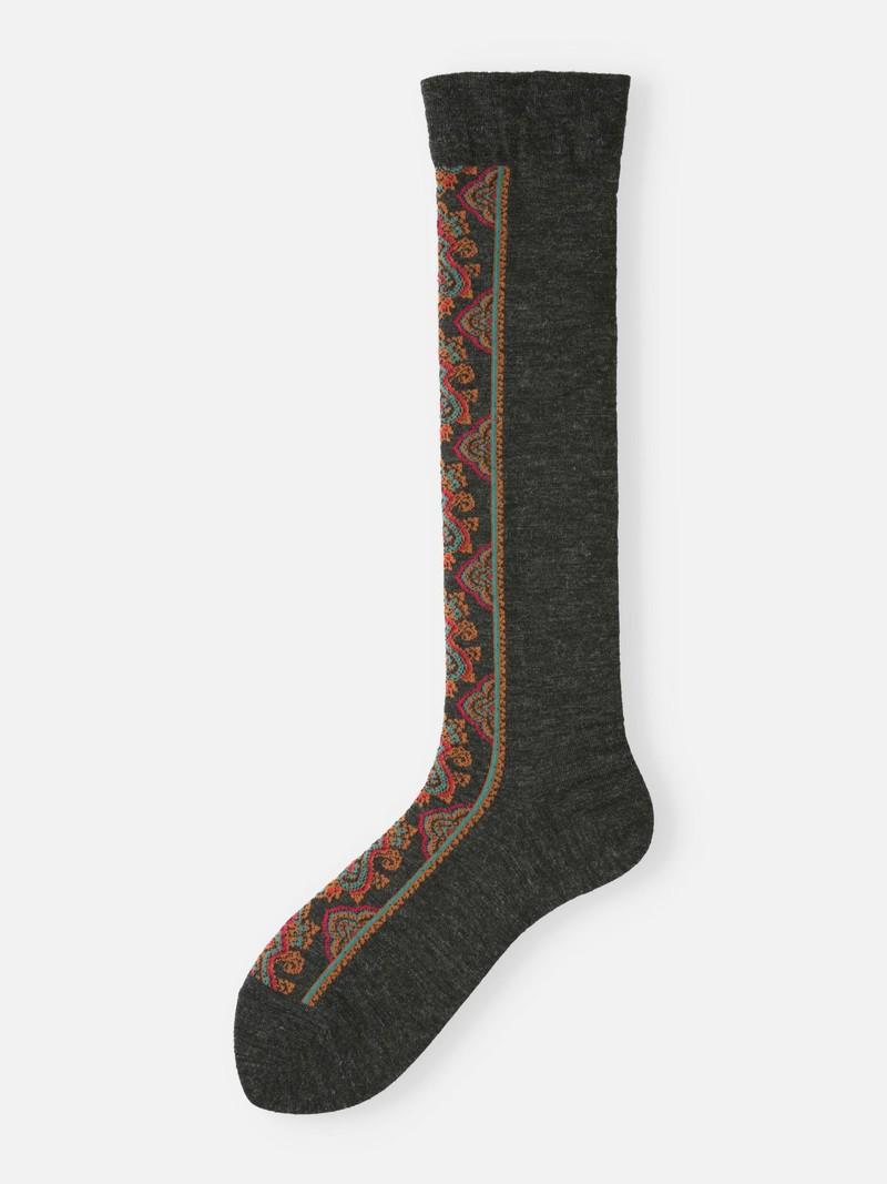 Merino Wool Front Motif Knee High Socks